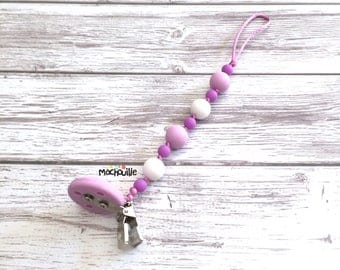 Silicone pacifier holder, teething pacifier holder, silicone teething toy, pacifier chain, food grade silicone, purple, lilas, Mâchouille