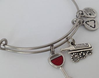 Wine Jewelry, Wineglass Charm Bracelet, Wine Bottle Charm, Wine Lover, Expandable Wire Bangle, Stainless Bangle
