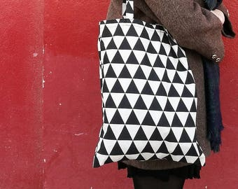 TOTE BAG bicolor//handmade//calamity//vintage calamity//triangle print//triangles//geometric//geometric print//canvas