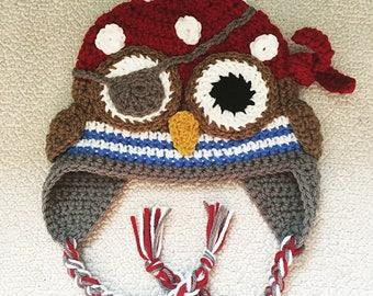 Kids Crochet Pirate Owl Beanie
