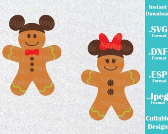 INSTANT DOWNLOAD SVG Disney Inspired Christmas Gingerbread Cookies Mickey and Minnie Ears for Cutting Machines Svg, Esp, Dxf, Jpeg Format