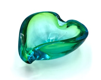 Murano Glass Bowl 1960s Heart or Lilly Pad Sommerso-Style Blue-Clear-Green Ashtray by Galliano Ferro, made w/ 1% Uranium Dioxide. Can GLOW