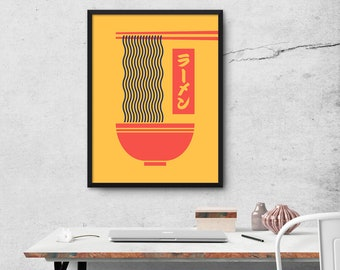 Ramen Japanese Food Tonkotsu Noodle Bowl Chopsticks Poster Wall Art