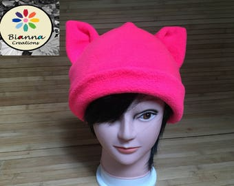 Neon Pink Pussyhat, Pussycat Pussy Cat Hat with Ears, Kawaii, Bright Pink Fleece, Womens Women's March Beanie Hat, Nasty Woman