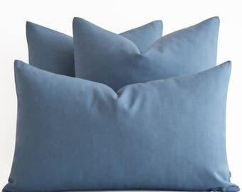 SALE! Cotton Blue Pillow Covers - Decorative Throw Pillow Covers - Blue Cushion Covers - Blue Pillows - Solid Blue Pillow Covers