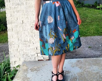 Southwest cactus skirt. Made to order organic cotton. Pleated 1940s retro pin up style.