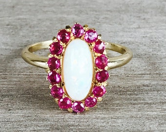 18k opal and ruby cluster ring