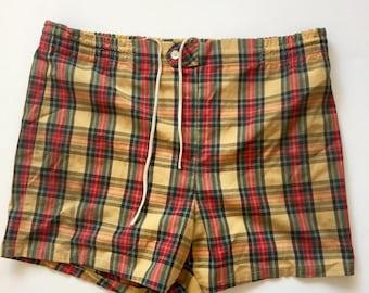 1950's Mens swim trunks Vintage Jantzen swim shorts mustard olive red size 32