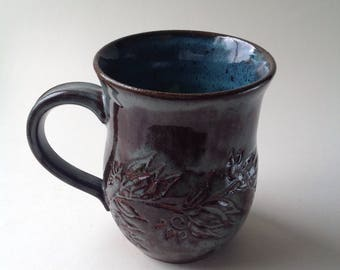 Blue Gray Hand Carved Lotus Ceramic Mug, 12 oz. Unique