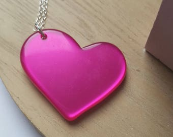 Neon pink opaque Heart Necklace
