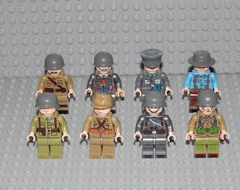 8 miniature figures, German, US Army, Italian, soldiers, new