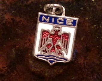 Nice France vintage silver enamel travel shield charm necklace pendant or keychain charm