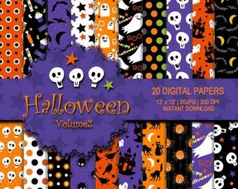Halloween digital paper, Halloween background, Halloween seamless pattern, Halloween paper, Halloween digital, purple, orange, green, black