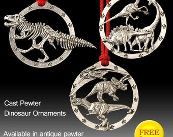 Awesome Dinosaur pewter ornaments.  3 to choose from.  Perfect gift or stocking stuffer for the Dinosaur enthusiast.