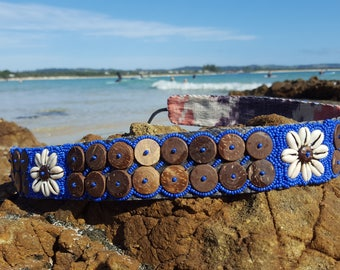 Cowrie shell flower belt with Coconut shell buttons, handmade
