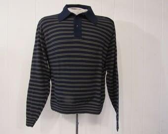 Vintage shirt, 1960s shirt, Ban Lon shirt, long sleeve shirt, striped shirt, vintage clothing, large, NOS