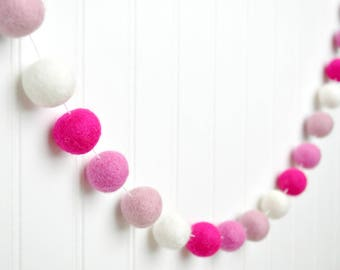 Pink Felt Ball Garland, Pink and White Pom Pom Garland, Baby Girl Decor, Baby Shower Decorations, Girl Birthday Party Decor, Birthday Banner