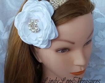 Flower Pearl Rhinestone & Crystal Headband , Wedding Head Band, OOAK, Floral, Wedding Fascinator, Bridal Headpiece, Crystal Headband