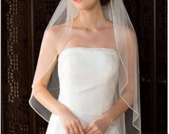 White Wedding Veil with Crystals, Elbow Length with Rhinestone Edge Trim , Soft Lace Veil With Comb & Rhinestones, White Tulle Veil, Veil