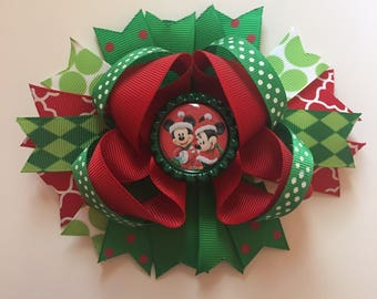 SALE Mickey and Minnie Santa 5 inch bow