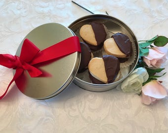 Valentine's Day Spritz Cookies in a Cookie Tin, Valentine Sugar Cookies, Valentine Chocolate Dipped Cookie, Nut Free Valentine Spritz Cookie
