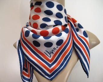 VERA, Vintage Red, White and Blue Scarf, Square Vera Neumann Silk Scarf, 22 x 22 inches, Vintage 1960s, Iconic Designer
