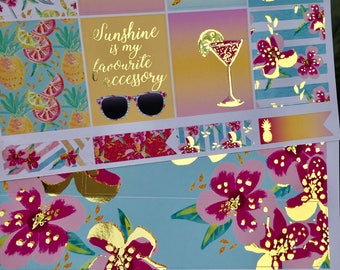 Hello Summer Gold Foiled Erin Condren VERTICAL Weekly Decorative Sticker Set