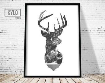 Deer Head Print, Woodland Animals, Scandinavian Print, Home Decor, Gift, Deer Print, Wall Art, Deer Poster, Instant Download, Digital Print