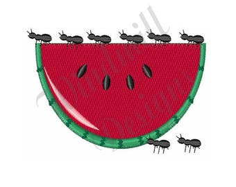 Watermelon And Ants - Machine Embroidery Design