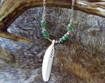 Bone Feather Beaded Necklace