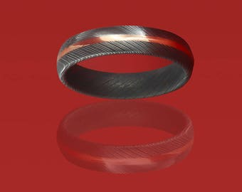 Authentic, Etched Damascus Steel Wedding Band with Copper Inlay
