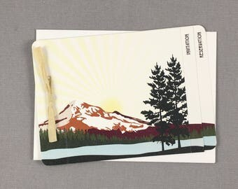 Fall Mt Hood Oregon in Burnt Orange and Gold 3pg Booklet Wedding Invitation with RSVP Postcard - TE1
