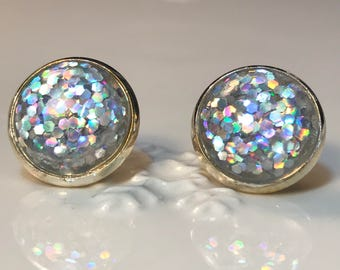 Holographic Glitter Post Earrings/ Valentine's  Day Gift/Dainty Earrings/ holographic stud earrings
