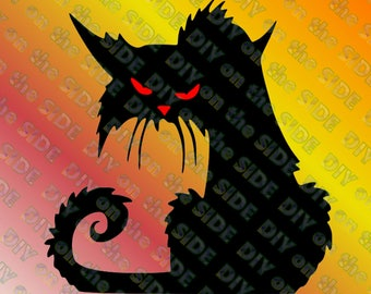 SVG Cut File Halloween Scary Cat Window Instant Download