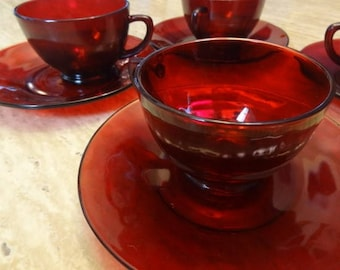 Ruby Red Glass Dessert Set. Set of four.