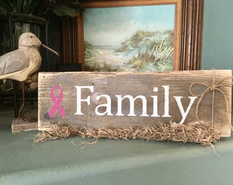Rustic Wood Family Sign | Support the Battle of Cancer