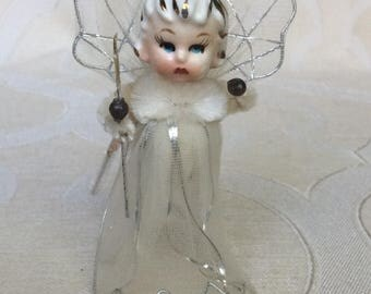 Vintage 1950s Porcelain Face Angel Ornament Chenille, Mercury Ball, Tulle