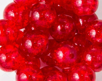 25 8mm red Crackle glass beads