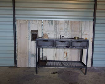Double tray industrial style console