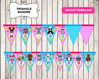 Beanie Boo Triangle Banner instant download, Printable Beanie Boo party Banner, Beanie Boo birthday Banner