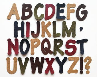 Cork Fabric Letters, Cork Die Cut Capital Letters, Applique Letters for Sewing and Other Craft Projects