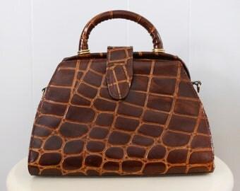 Vintage 60s-style Crocodile Reptile Brown Faux Leather Handbag with Shoulder Strap