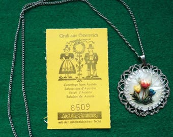 Vintage Austrian Floral Pendant