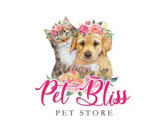 Animals Logo, Cat Logo, Dog Logo, Canine Logo, Cat Dog logo, Pets Logo, Pet shop Logo, Retriever Short hair, Floral logo, Flowers logo, ooak