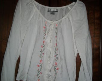 Vintage 90's White, Cotton, Embroidered Peasant, Boho Shrug Top, Size 12P