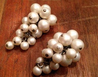 Vintage Cluster Earrings with White Beads, Clip on, Mid Century
