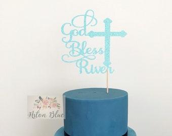 Personalised God Bless Cake or Cupcake Topper- Baby Christening/First Communion/Naming Topper/Cross Topper/Christening/Baptism