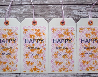 Happy Birthday - Set of 4 Gift Tags. Happy Birthday Gift Tags Rasberry and Marmalade