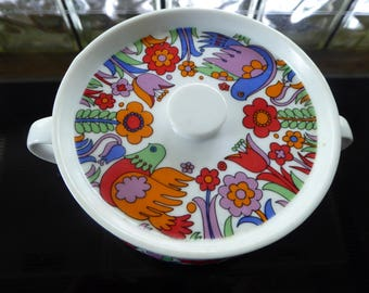 Vintage Royal Crown Paradise Porcelain Ovenware Individual Covered Casserole - Free Shipping