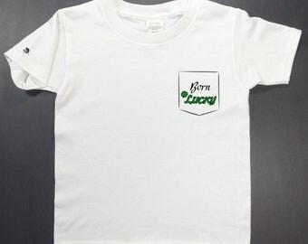 Toddler T-shirt, Born Lucky, kid, St Patrick, Irish, Ireland, clover
